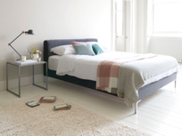 Chrome upholstered contemporary bed