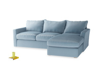 Large Right Hand Pavilion Chaise Sofa in Chalky Blue Vintage Velvet