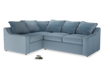 Large left hand Corner Cloud Corner Sofa Bed in Chalky blue vintage velvet