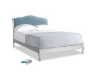 Kingsize Coco Bed in Scuffed Grey in Chalky blue vintage velvet