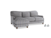 Large left hand Pavlova Chaise Sofa in Brittany Blue french stripe
