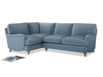 Large Left Hand Jonesy Corner Sofa in Chalky blue vintage velvet