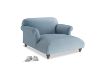 Love Seat Chaise Soufflé Love Seat Chaise in Chalky blue vintage velvet