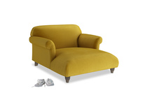Love Seat Chaise Soufflé Love Seat Chaise in Burnt yellow vintage velvet