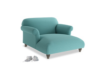 Love Seat Chaise Soufflé Love Seat Chaise in Peacock brushed cotton