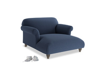 Love Seat Chaise Soufflé Love Seat Chaise in Navy blue brushed cotton