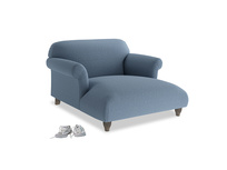 Love Seat Chaise Soufflé Love Seat Chaise in Nordic blue brushed cotton