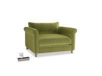 Love Seat Weekender Love seat in Olive plush velvet