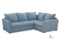 Large Right Hand Pavilion Corner Sofa Bed in Chalky Blue Vintage Velvet
