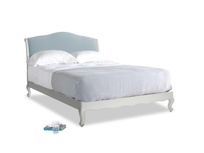 Kingsize Coco Bed in Scuffed Grey in Soothing blue washed cotton linen