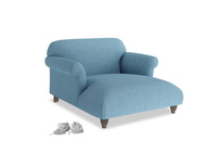 Love Seat Chaise Soufflé Love Seat Chaise in Moroccan blue clever woolly fabric