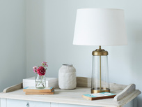 Diner glass and bronze table lamp