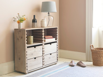 Chockablock wooden storage console table