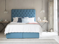 Store storage bed with our Tall Billow headboard