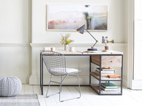 Den wooden industrial study, home office and writing desk