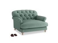Truffle Love seat in Sea blue vintage velvet