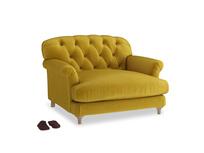 Truffle Love seat in Burnt yellow vintage velvet