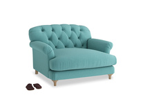 Truffle Love seat in Peacock brushed cotton
