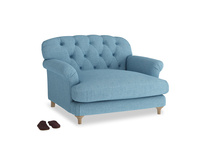 Truffle Love seat in Moroccan blue clever woolly fabric