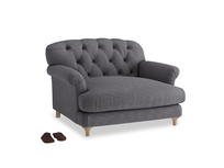 Truffle Love seat in Lead cotton mix