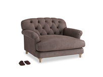Truffle Love seat in Dark Chocolate beaten leather