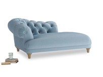 Left Hand Fats Chaise Longue in Chalky blue vintage velvet
