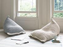 Chocs wool knitted bean bag in Light Grey