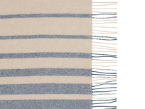 Ripple striped throw in blue and cream