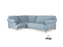 Large left hand Corner Soufflé Modular Corner Sofa in Chalky blue vintage velvet and both Arms