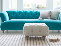 Upholstered Dimple square handmade chesterfield footstool