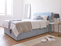 Tight space storage bed with draws