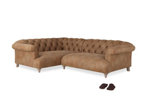 Large Left Hand Dixie Corner Sofa in Walnut beaten leather