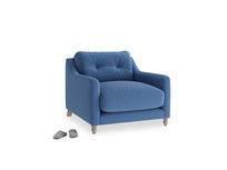Slim Jim Armchair in English blue Brushed Cotton