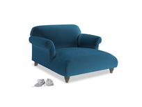 Love Seat Chaise Soufflé Love Seat Chaise in Twilight blue Clever Deep Velvet