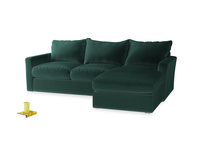 Large Right Hand Pavilion Chaise Sofa in Dark Green Clever Velvet