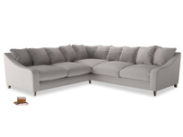 Even Sided Oscar Corner Sofa  in Mouse grey Clever Deep Velvet