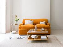 Gaston desk lamp with Pudding sofa bed in our Burnt Orange plush velvet