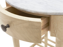 Mini Marmo round side table with a marble top drawer open detail