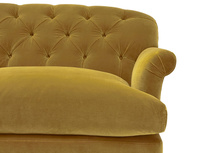 Truffle button back sofa bed front detail