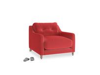 Slim Jim Armchair in True Red Plush Velvet