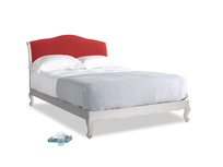 Kingsize Coco Bed in Scuffed Grey in True Red Plush Velvet