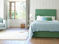 Tight Space storage bed with Tall Piper upholstered headboard
