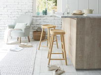 Bumble wooden bar stools in Good Yellow