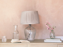 Flute small glass table lamp Natural pleated shade