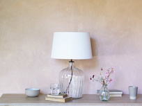 Flute glass table lamp with Hessian shade