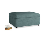 Single Bed in a Bun in Blue Turtle Clever Laundered Linen
