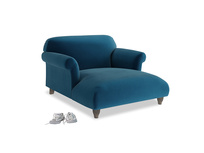 Love Seat Chaise Soufflé Love Seat Chaise in Berlin Blue Clever Deep Velvet