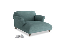 Soufflé Love Seat Chaise in Blue Turtle Laundered Linen
