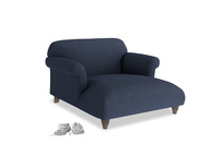 Love Seat Chaise Soufflé Love Seat Chaise in Night Owl Blue Clever Woolly Fabric