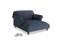 Soufflé Love Seat Chaise in Selvedge Blue Laundered Linen